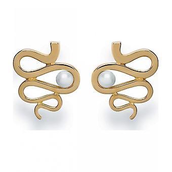 Bastian Inverun 925 silver stud studs gold plated polished breeding pearl white 23300