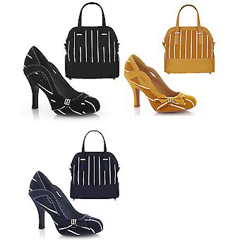 Ruby Shoo Women's Miranda Striped Court Shoe & Matching Lima Bag