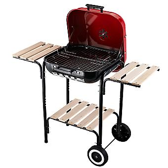Outsunny Charcoal Trolley BBQ Barbecue Grill Patio Camping Picnic Garden Party Outdoor Cooking with Wheels Cover Side Trays and Storage Shelf
