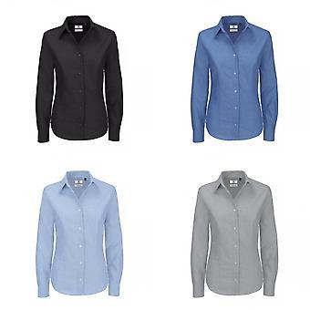 B & C damer Oxford långärmad tröja / damer skjortor & blusar