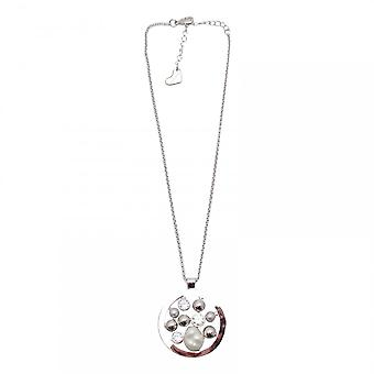 Nour London Crystal & Pearl Effect Pendant Necklace