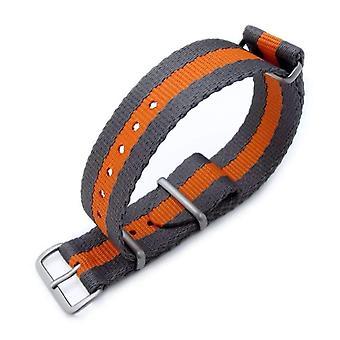 Strapcode n.a.t.o watch strap miltat 20mm g10 military nato watch strap, sandwich nylon armband, brushed - grey & orange stripes