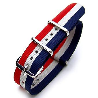 Strapcode n.a.t.o watch strap zulu g10 18mm or 22mm french flag nylon watch strap polished (france, luxembourg, netherlands, czech republic,iceland)