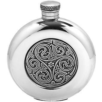 Celtic Triskele Round Pewter Flask - 6oz