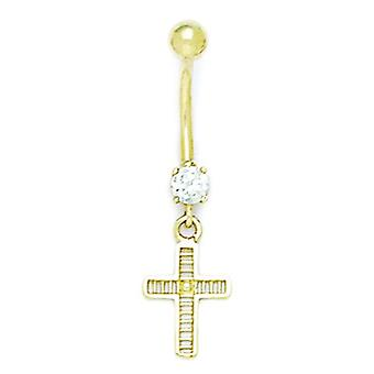 14k Yellow Gold CZ Cubic Zirconia Simulated Diamond 14 Gauge Religious Faith Cross Body Jewelry Belly Ring Measures 37x1