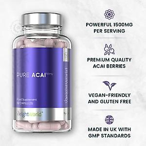 Pure Acai Capsules 1500mg - Pure Acai Berry Supplement, Rich In Antioxidants For Immunity & Vitality, Vegan & Keto Formula, Vitamin Rich - 60 Capsules
