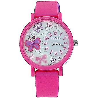 Tikkers Girls 3D Dial Butterfly  Pink Rubber/Silicone Strap Watch TK0074