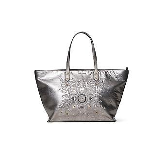 Desigual Women's Pewter Majestic Cortland Shopper Bag with Metallic Embroidered Mandalas