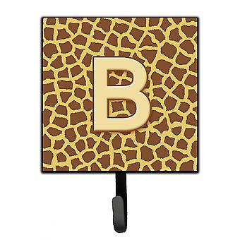 Letter B Initial Monogram - Giraffe Leash Holder or Key Hook