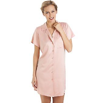 Camille ylellinen polven pituus vaaleanpunainen Satiini yöpaita