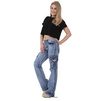 Weites Bein Light Wash Denim Cargohosen bekämpfen Jeans