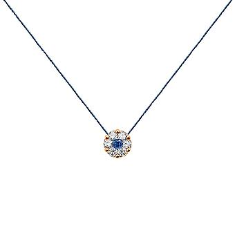 Collier Duchesse Full Diamond on Sapphire and 18K Gold, On Thread - Rose Gold, NavyBlue