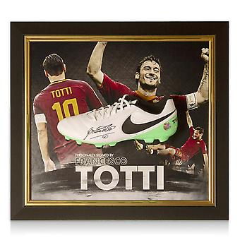 Francesco Totti Signed Football Boot Roma Presentation Framed