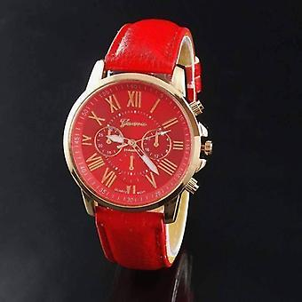 Rose gold classic geneva watch in red