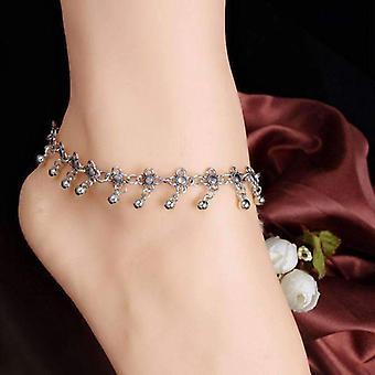 Z koralikami medalion srebrny łańcuszek kostki bransoletka dla kobiety