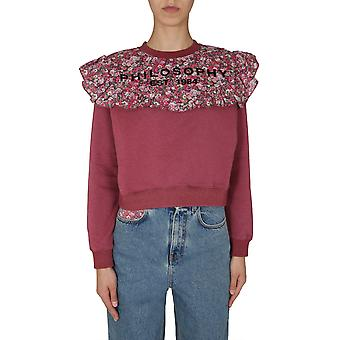 Filosofia Por Lorenzo Serafini 17035747182 Mulheres's Burgundy Cotton Sweatshirt