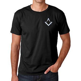 Frimurerne Square og Compass brodert Logo - ringspunnet bomull T-skjorte