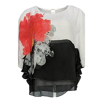 Masseys Women's Top Double Flounce Poncho White / Coral Pink