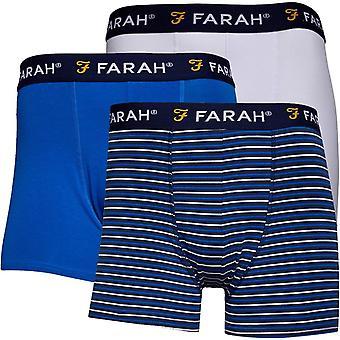 Farah Hove 3 Pack Trunk Boxer Shorts Blue 89