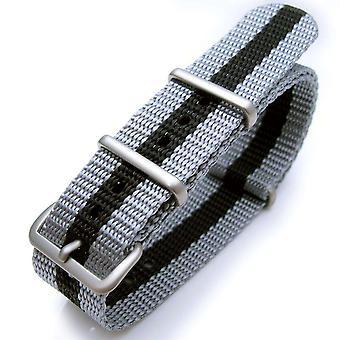 ストラップコードウォッチストラップNATO 20mm g10 NATOジェームズボンドヘビーナイロンストラップブラシバックル - jt23グレーブラックグレー