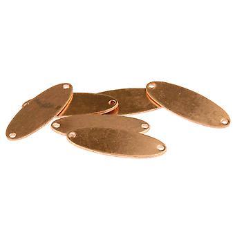 Kupfer Blanks Doppel durchbohrt Oval Pack von 6 31mm X 11mm