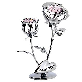 Crystocraft Chrome Plated Rose & Rose Bud Ornament. (Special Mum)
