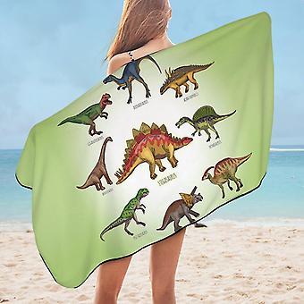 Multi Colored Dinosaurs Microfiber Beach Towel