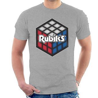 Rubik's rood wit en blauw kubus mannen T-shirt