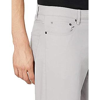 Essentials Men's Straight-Fit 5-Pocket Stretch Twill Pant, Light Grey,...