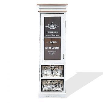 Rebecca Muebles Pantalla Móvil Caja Blanca Madera 1 Puerta 1 Cajón Shabby 102x32x27