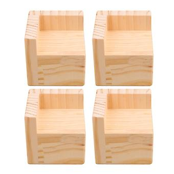 4pcs L Shape Bed Table Funiture Feet Heighten Protector Pad 7.5*7.5*5cm