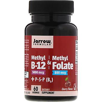 Jarrow Formulas, Methyl B-12 & Methyl Folate, Cherry Flavor, 5000 mcg / 800 mcg,