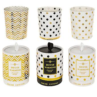 House Warming Votive Candle - Fresh Cotton Scent - Boxed Gift