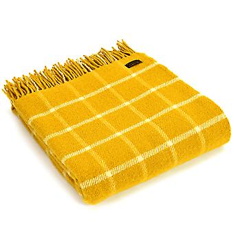 Tweedmill Pure New Wool Knee Lap Blanket, Chequered Check Yellow