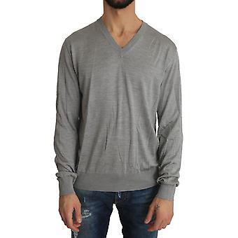 Dolce & Gabbana Silver Silk V-Neck Pullover Sweater TSH2151-1