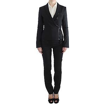 Exte Gray Two Piece Suit Zipper Jacket & Pants SIG30909-1