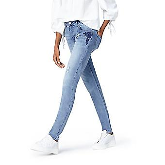find. Women's Slim Fit Mid Rise Stretch Ripped Embroidered Jeans, Blue (Denim...