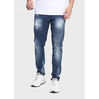 883 Police Moriarty Slim Fit Mid Wash Paint Jeans