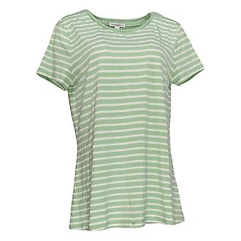 Isaac Mizrahi ao vivo! Women's Top Striped Ladder Lace Neck Green A376852