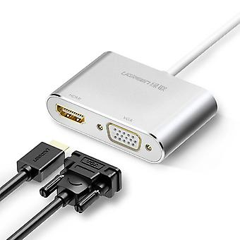 2in1 Usb-c Hub To Type-c, Hdmi / Vga Adapter For Macbook, Pd Charge Huawei Mate30 / P30