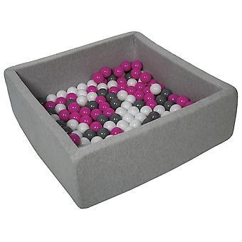 Hoyo de bola cuadrada 90x90 cm con 150 bolas blancas, púrpura y gris