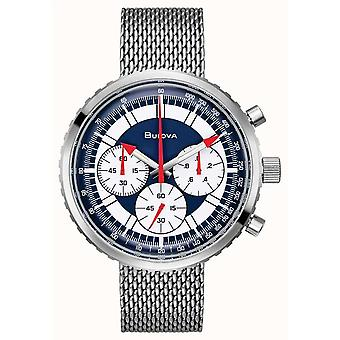 Bulova 96k101 Archive Blue & Silver Mesh Stainless Steel Chronograph Men's Watch