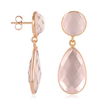 ADEN Natural Pink Quartz Earrings, setting fine rose gold plated on 925 sterling silver (id 4541)