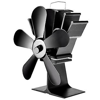 5 Blade Stove Fan, Heat Powered Wood Burner Friendly Quiet Fan Home Efficient