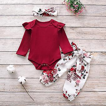 Newborn Baby Clothes Knitting Cotton Long Sleeve Romper Tops Flower Print Pants
