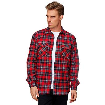 Men Lumberjack Shirt Slim Fit Leisure Logo Design Pockets Checkered Pattern