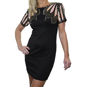 Mujeres's noche estiramiento Bodycon Mini Pequeño vestido negro floral lentejuelas mangas cortas tamaño negro 6