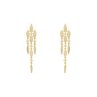 Long Yellow White Valencia CZ Bridal Jewellery Statement Gift Gold Drop Earrings