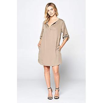 Solide V-Ausschnitt Kleid