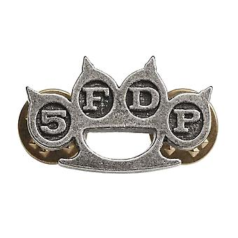 Five Finger Death Punch Pin Badge Knuckle Duster Band Logo new Official Metallic